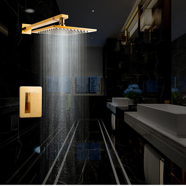 Dfaso ceiling rain shower head Rainfall Concealed Thermostatic Shower Set Panel Embed Ceiling insert wall mount shower faucets