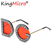 Diamond Round DG Sunglasses Luxury Brand Crystal Gray Yellow Bling Gemstone D and G
