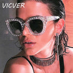 Diamond Sunglasses Women Italy Brand Designer Vintage Crystal Sun glasses Female Luxury Square Retro Yellow Lens Glasses UV400