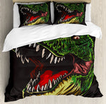 Dinosaur Duvet Cover Set  Aggressive Wild T-Rex Head Colorful Hand Drawn Style Jurassic Period,  4 Piece Bedding Set