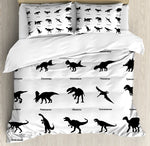 Dinosaur Duvet Cover Set Collection of Different Dinosaurs Silhouettes with Their Names Evolution Wildlife Bedding Set White