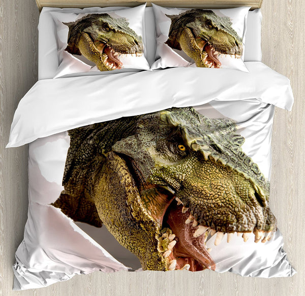 Dinosaur Duvet Cover Set  Dangerous Dinosaur Tears Up the Paper Wall Image Scary Break Scenery,  4 Piece Bedding Set