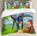 Dinosaur Duvet Cover Set Different Types of Dinosaurs Natural Jungle Environment T-Rex Triceratops Cartoon 4pcs Bedding Set