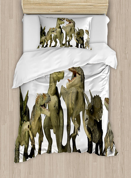 Dinosaur Duvet Cover Set Dinosaurs T-Rex Jurassic Theme 3D Style Dino Fossil Art Design History 4 Piece Bedding Set Pearl