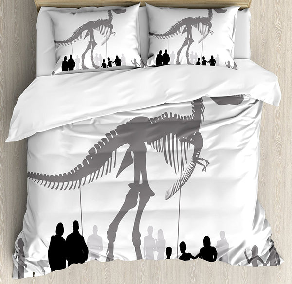 Dinosaur Duvet Cover Set, Silhouettes of People Looking at a Tyrannosaurus Rex Skeleton in a Museum, 4 Piece Bedding Set