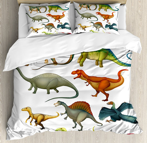 Dinosaur Duvet Cover Set Various Different Ancient Animals from Jurassic Period Cartoon Collection Mammals Bedding Set