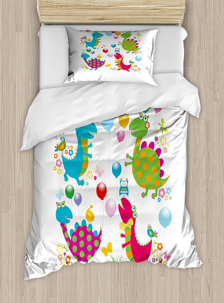 Dinosaur Party Duvet Cover Set Cartoon Balloons Birds Butterflies Summer Baby Dino Doddle Playroom Theme 4 Piece Bedding Set