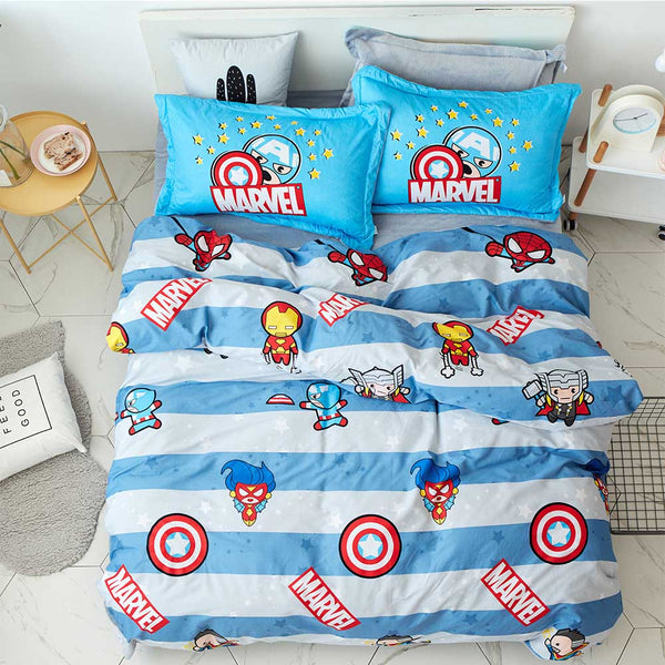 Disney Marvel Iron Man Captain America Spider-man Children Cartoon Bedding Set Duvet Cover Sheet Pillow Case Cotton Bedding Set