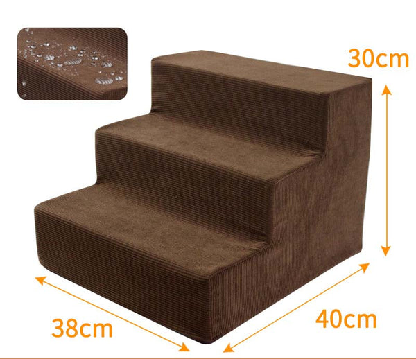 Dog Stairs Dogs Pet 3 Steps Stairs Pet Dog Bed Foldable Puppy Bed Stairs Anti-slip Steps Ladder for Small Puppy Cushion Mat