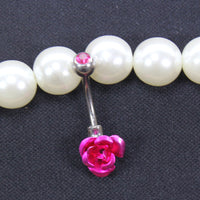 Droppshiping Stainless Steel Flower Rose Piercing Belly Button Ring Barbell Body Jewelry Women Dancing Body Chains Plug