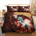 Dropshipping 3d dragon and unicorn fighting Bedding set polyester Duvet Cover Bed Set Single Twin queen king size home textile