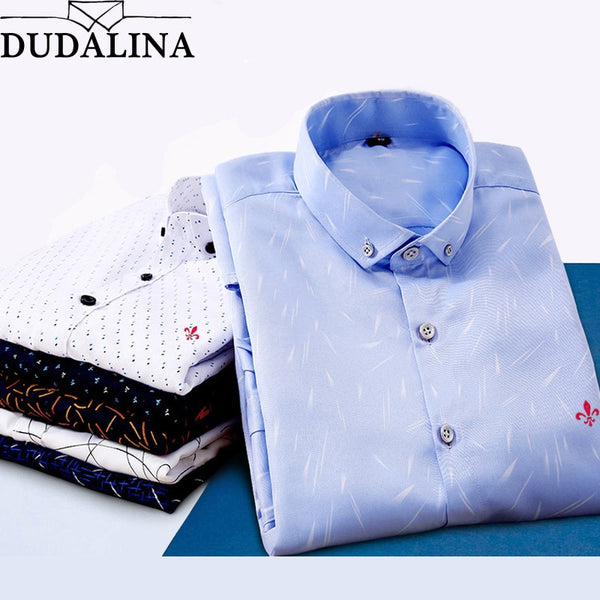 Dudalina Male 2018 Printing Embroidery Classic Business Men's Shirts Long Sleeve Turndown Collar Plus Size M-5xl Dress Shirt