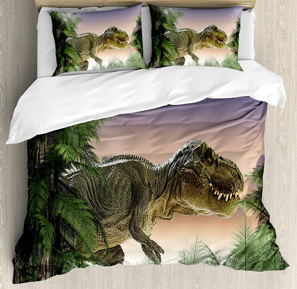 Duvet Cover Set Dinosaur in the Jungle Trees Forest Nature Woods Scary Predator Violence, Decorative 4 Piece Bedding Set