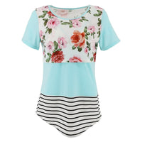 ENXI Patchwork Maternity Nursing Top Clothing For Feeding Tees Breastfeeding Tops Contrast Color Short Breast Pregnance