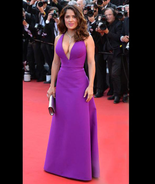 ac6b0ce917 Elegant Purple Satin Sexy Deep V Neck A-Line Red Carpet Dresses 2018 Spaghetti  Straps