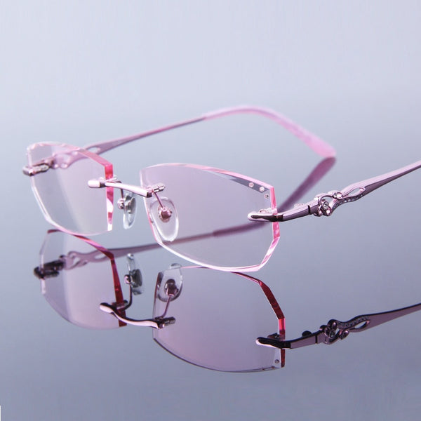 Elegant Women Rhinestone Reading Glasses Rimless Frame Pink Eye Glasses Hyperopia Frameless For Elderly Read Optical Presbyopic