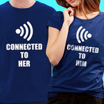 Couple Shirt White Navy Blue Unisex Funny Printing Wifi Connected To Her Him Plus Size Unisex. 1pc