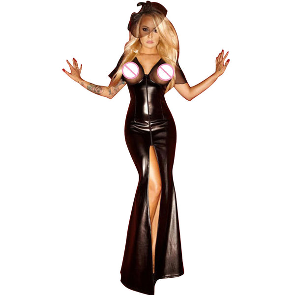 Erotic Split Long Wetlook Faux Leather Dress Open Bust See Through Mesh Robe Sexy Club Erotique Night Pole Dance Stripper Dress