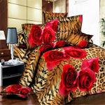EsyDream Leopard Print Red Rose King Size Duvet Cover ,Queen Twin Size Leopard Rose Bedding Sets 4pc Bed Sheet