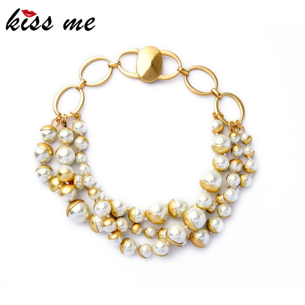 Euramerican Women Jewelry New Arrival Irregular Multilayer Simulated Pearls Choker Necklace Factory Wholesale