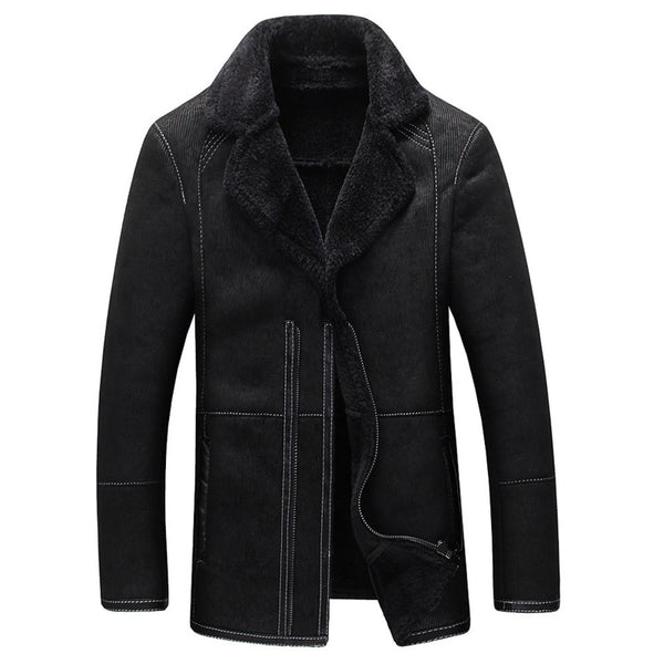 European And American Style Mens Fur Leather Jackets Thick Warm Winter Style Men's Fur Lined Leather Overcoats High Quality C035