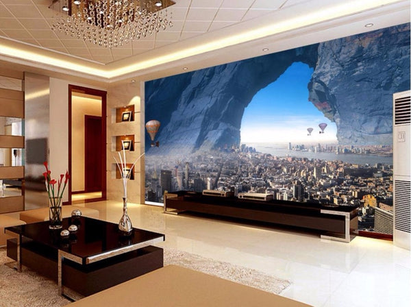 European style 3D Mural Wallpaper Cave City hot air balloon Custom Wallpaper 3D Living room Bedroom