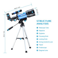 Astronomical Telescope With Tripod Phone Adapter Monocular Moon Bird Watching Kids Adults  Astronomy Beginners Gift