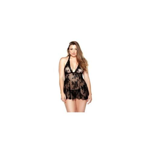 Curve Stretch Lace Chemise & Matching G-string - Black- 1x/2x