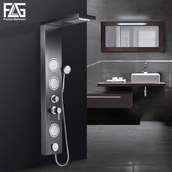 FLG Bathroom Shower Panel Wall Mounted Massage System Faucet with Jets Hand Shower Rain Waterfall Shower Panel LY112-01S