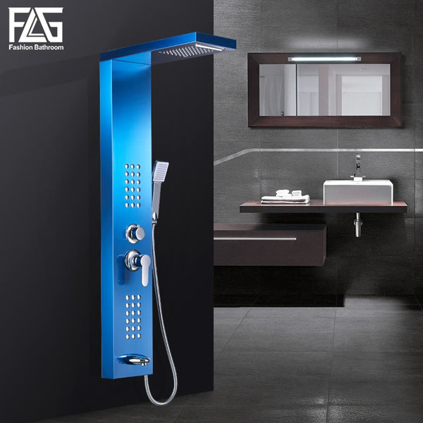 FLG Rain Waterfall Shower Panel Sapphire Wall Mount Rain Massage Jets Shower Faucets with Hand Shower Tub Spout Shower Column