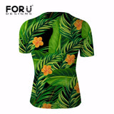 FORUDESIGNS Retro Men's T Shirt Hawaiian Short Sleeve Tshirt Male Tropical Forest Printed Breathable Summer T-shirt Homme Man