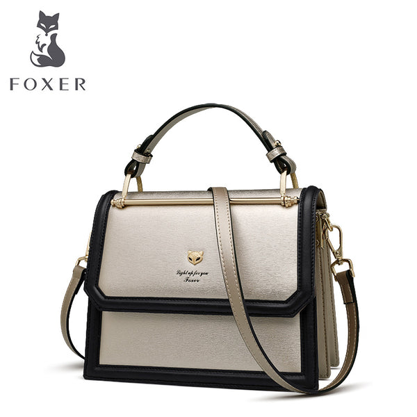 FOXER Brand Women's Crossbody bags Accordion Design Shoulder Bags Split Leather Messenger Bags Female New Fashion Lady Purse