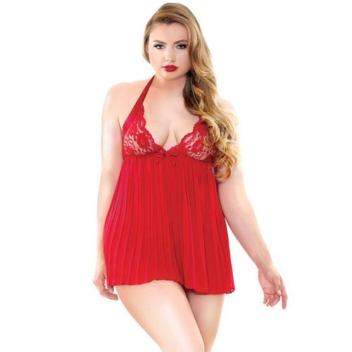 Curve Valerie Pleated Babydoll & G-String Red 1X/2X