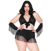 Curve Sassy in the Saddle Collared Top, Skirt, Cuffs, Skirt & Panty Black/White 3X/4X