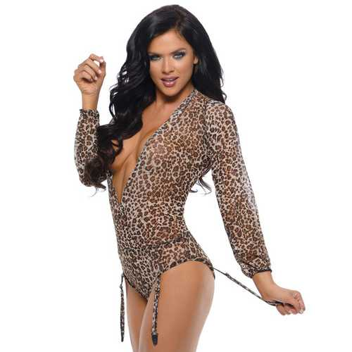 Romp Shiva Long Sleeved Animal Print Teddy w/Detachable Garters & Snap Closure Leopard M/L