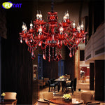 FUMAT Crystal Chandelier Retro Candle Red Glass Lamp Lustre Living Room Cafe Coffee Bar Clothing Store Art Candle Chandeliers