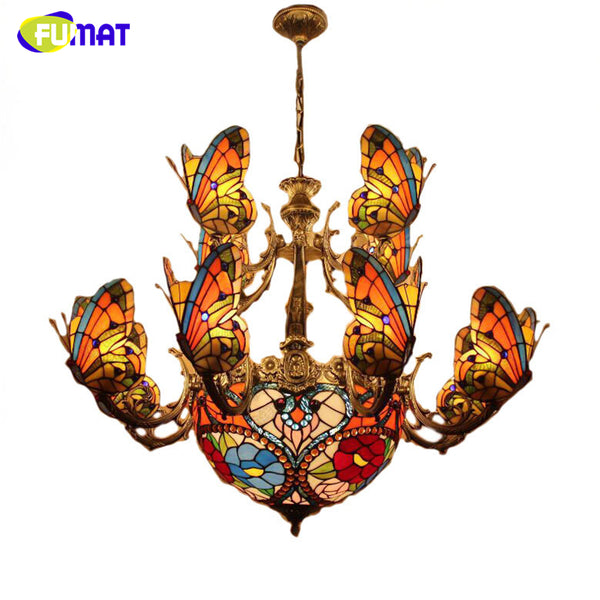 FUMAT Glass Art Chandelier Stained Glass Butterfly Lamp Indoor Lightings European Style Hotel Bar Living Room Light Fixtures