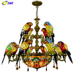 FUMAT Luxurious Parrot Double deck Chandeliers Tiffany Stained glass 12 birds Parrot Restaurant Bar club Living room Lights