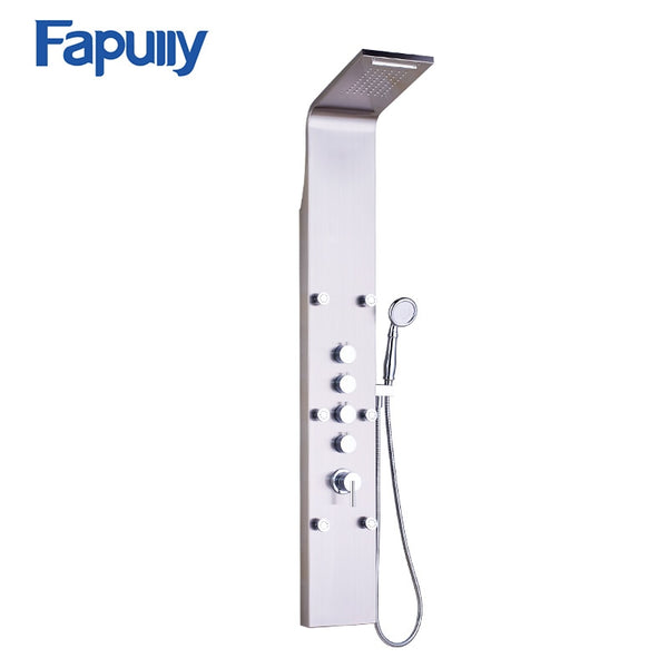 Fapully Rain Shower Bathroom Shower Panel 6pc Massage Jets Nickel Brushed Wall Mounted Shower Bathroom Shower Set LY-3