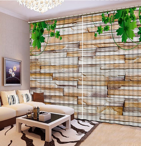 Fashion Customized Home Bedroom Decoration 3D Curtain Green Leaf Stone Wall Curtains For Blackout Curtains Living Room