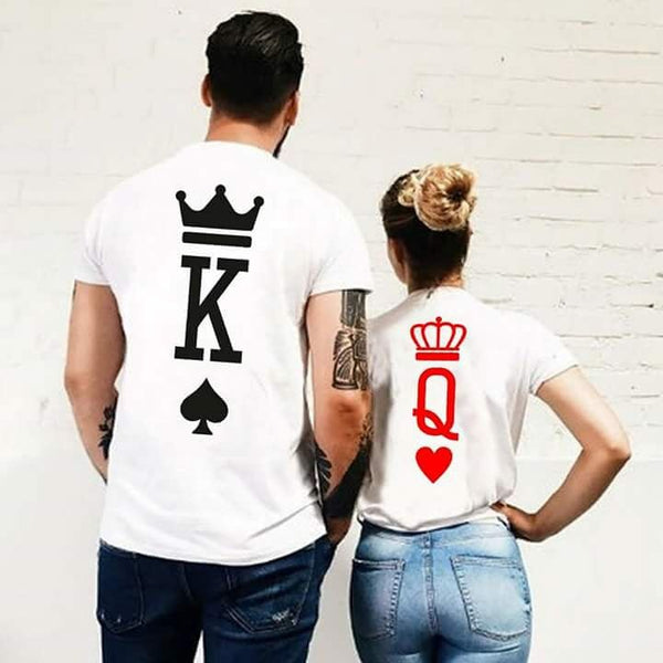 Fashion Graphic Couple Shirt Poker Printing King Queen Heart. 1Pc