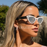 Fashion Small Cat Eye Sunglasses Women Brand Designer Italy Sunglasses Female Luxury Crystal Mirror Shades Red Pink Model 2019