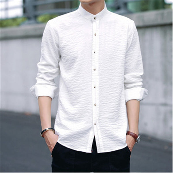 Fashion long-sleeved white shirt men's slim shirt men's youth dress solid color shirt WMY07