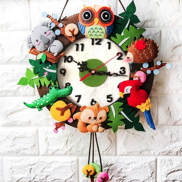 Felt Wall Clock Free Cutting Felt Material DIY Package Forest Animal Theme Handmade Cloth Clock For Living Room Decorartion Z