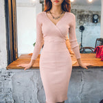 Fit 45-70KG Autumn Winter Women Knitted Cotton Skinny Sweater Dress V-neck Slim Bodycon Dress Elegant Pink Sexy Party Vestidos