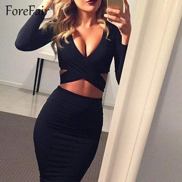 Forefair Sexy V Neck Midi Bodycon Dress Women 2018 Autumn Spring Long Sleeve Night Club Wear Party Bandage Dress Red & Black