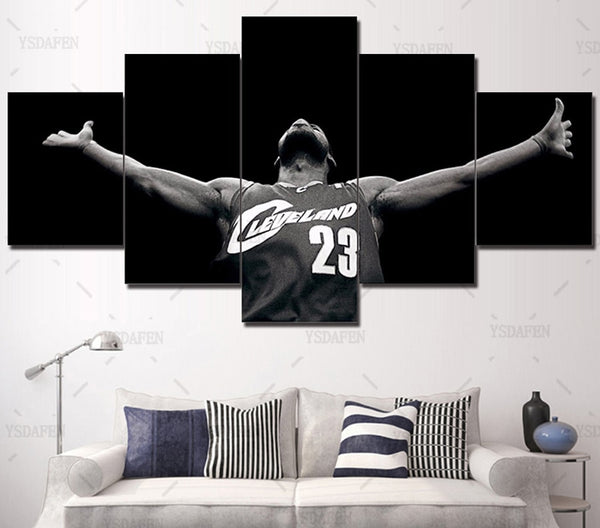 Framed Art 5 Panel Print Canvas Nba Art Picture Wall Art Home Decorative Miami Heat Lebron James Basketball Print Oil Painting
