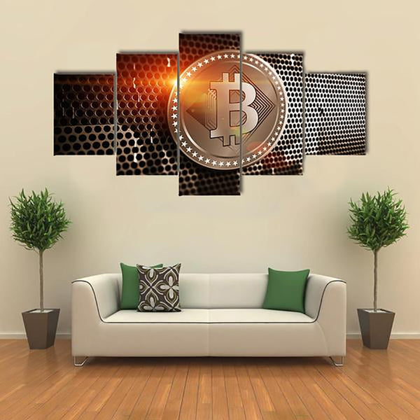 Framework Living Room Wall Art Pictures HD Printed 5 Piece/Pcs Bitcoin Sheet Metal Modern Painting On Canvas Home Decor Poster