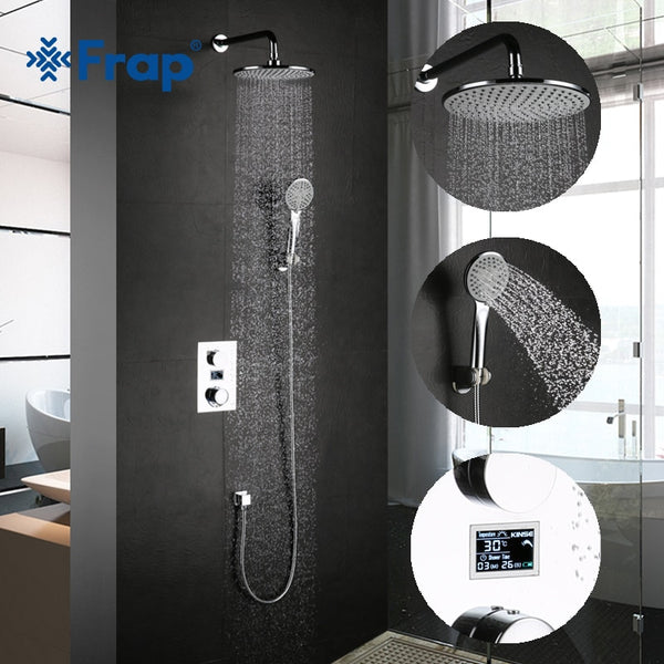 Frap Digital bathroom Shower Mixer with Display Bath Shower Faucet System set Wall Mount Mixer Digital Display Shower Panel
