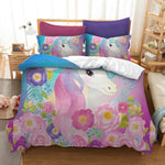 Free Dropshipping  Duvet Bedclothes  3D Digital Printing Watercolor Hand Drawn Sleeping Rainbow Unicorn Bedding Set  Pink Floral
